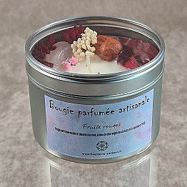 Bougie parfumée artisanale ~ Fruits rouges & quartz rose